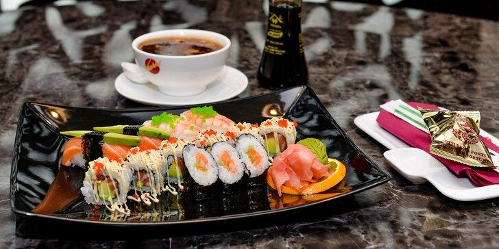 Sushi menu s ostrokyslou polievkou pre 1 alebo 2 osoby