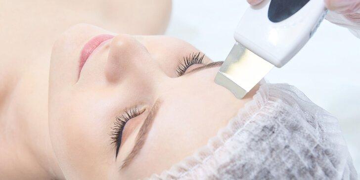Ultrazvukové čistenie pleti s relaxačnou masážou alebo úpravou obočia