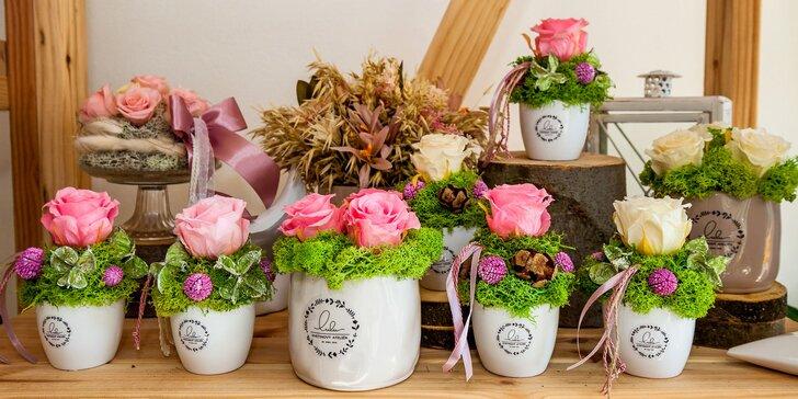 Stabilizované ruže a darčekové poukážky na nákup v kvetinovom ateliéri