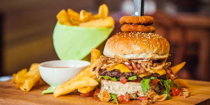 Premium burger s hranolčekmi a pivnou ochutnávkou