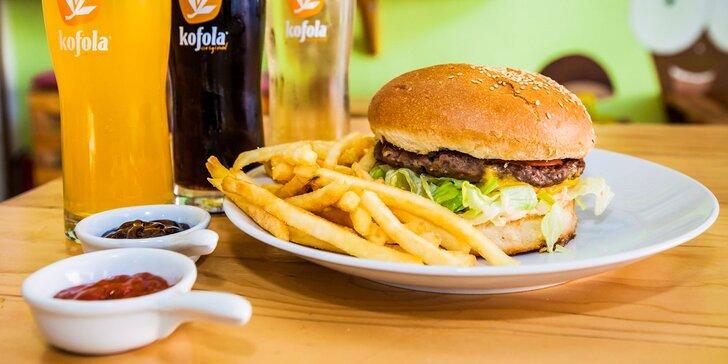 Hovädzí classic burger alebo burger menu s hranolčekmi a Kofolou