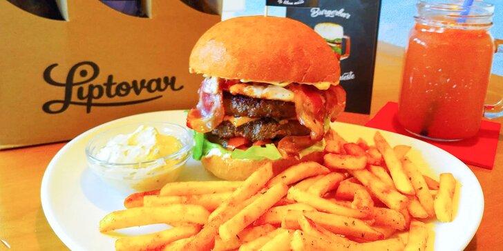 Dvojitý hovädzí, vegetariánsky alebo syrový burger v Burgerbare Na blbom mieste