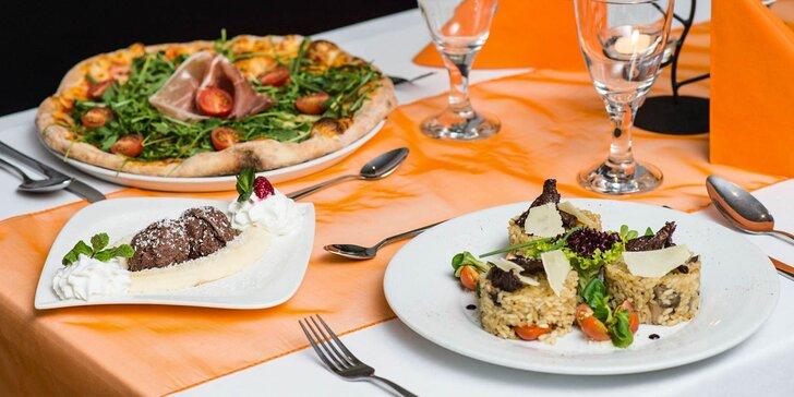 Talianske 3-chodové menu a víno pre 2 osoby v Pizza Pazza Hron