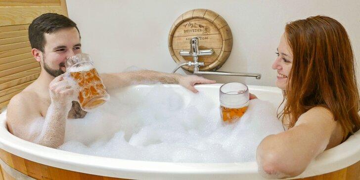 Originálny pivný kúpeľ, wellness alebo romantický relax pre 1 alebo 2 osoby