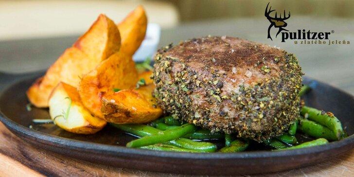 200g Argentínsky grilovaný hovädzí steak s prílohou a domácou slepačou polievkou U Zlatého jeleňa