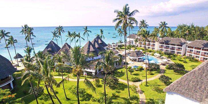4* exotický rezort na Zanzibare: 6-12 nocí priamo na pláži, all inclusive + fitness