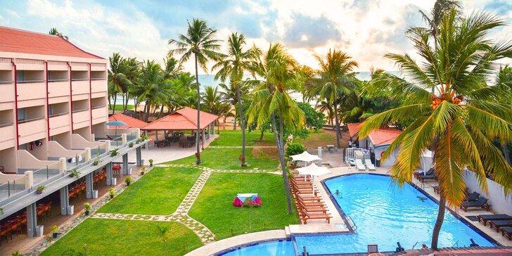 Príjemný 3* rezort na Srí Lanke: 6-12 nocí, polpenzia, bazén, priamo na pláži
