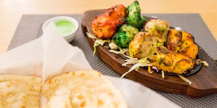 Degustačné menu rozmanitých chutí Indie s prílohou podľa vlastného výberu