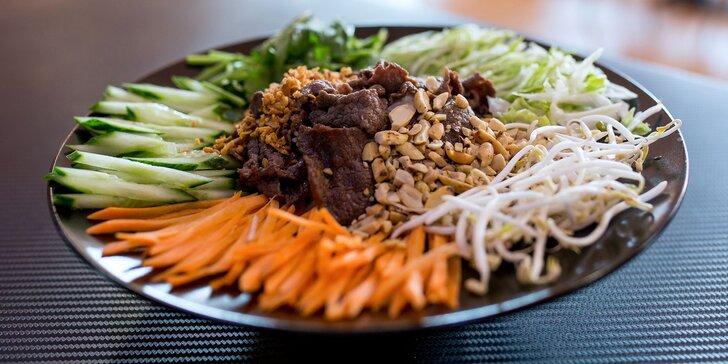 Chutné ázijské rizoto alebo rezance s mäsom podľa výberu či Bun Bo Nam Bo