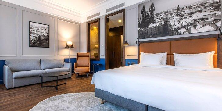 Moderný 5* hotel v secesnej budove blízko Václavského námestia: raňajky a kredit na služby