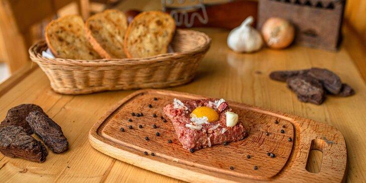 Tatársky biftek v Sídliskovej pivárničke pre 1 alebo 2 osoby