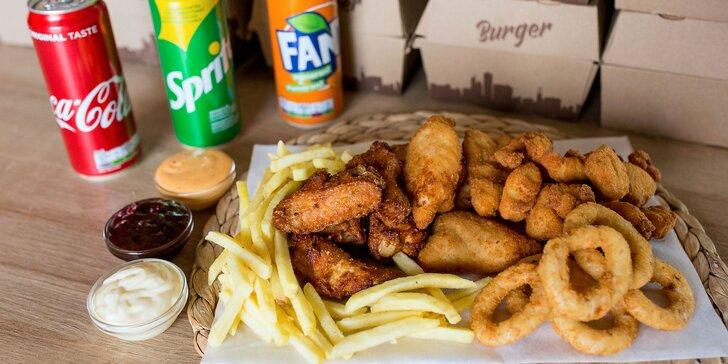Chutný burger a kuracie špeciality spolu s hranolčekmi a omáčkami. Aj rozvoz!