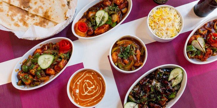 Vegetariánske alebo kuracie špeciality s prílohou + indické pivo