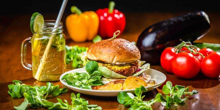 Vegetariánsky či vegán burger s pečenými zemiakmi + nápoj alebo konzumné v hodnote 10€