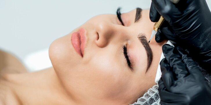 Permanentný make-up nano ihlou (obočie, horná linka, pery) a laminácia obočia