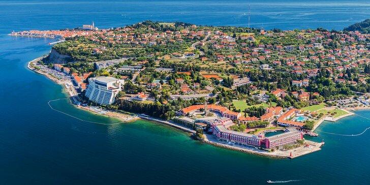 5* dovolenka v Slovinsku: hotel v Portoroži pri pláži, polpenzia a vstup do aquaparku