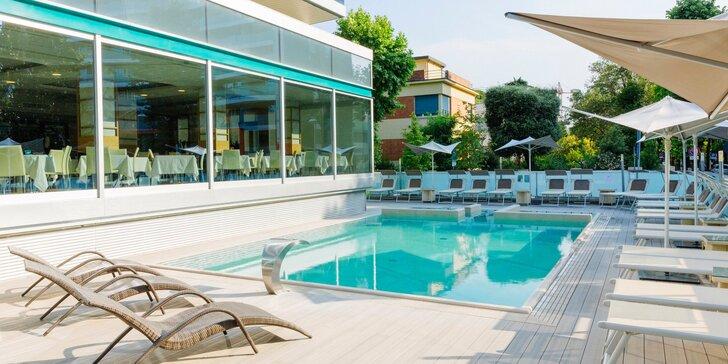 4* pobyt v talianskom Rimini: hotel 2 min. chôdze od pláže, bazén s vírivkou a bohaté raňajky