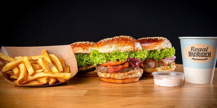 Fantastické Regal Burger Combo s hranolčekmi a nápojom – 8 druhov!