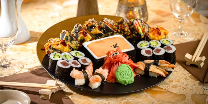 Letný sushi set pre 2 osoby v 4* hotelovej reštaurácii: Futomaki, maki a nigiri