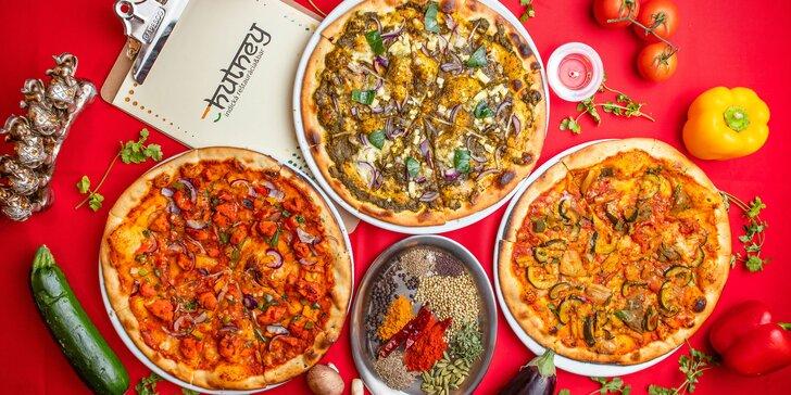 Kuracia či vegetariánska indická pizza v reštaurácii Chutney
