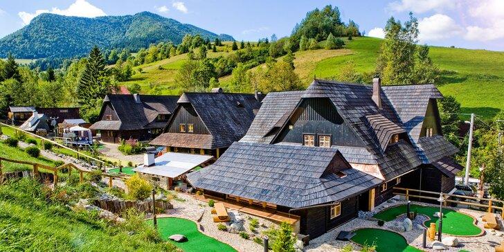 Pobyt v útulných dreveniciach penziónu Jánošíkov Dvor s minigolfovým ihriskom v krásnom prostredí Zázrivej, v Malej Fatre pri Terchovej