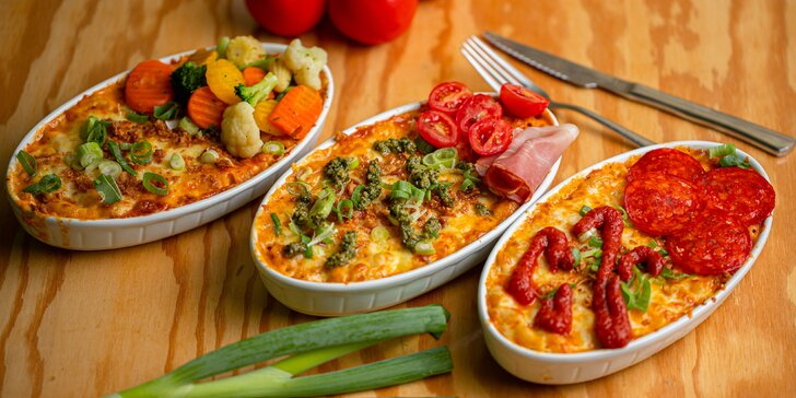 Mac&Cheese original, so slaninou či zeleninou, pestom a prosciuttom či pepperoni pizza style