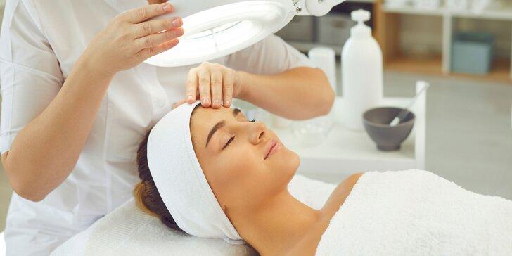 Vitamínové ošetrenie pleti, rádiofrekvencia, masáž tváre s účinným sérom, úprava a farbenie obočia
