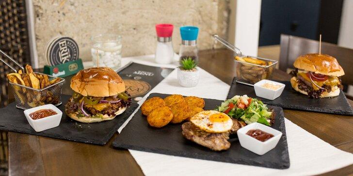 Texas steak s volským okom alebo beef/pulled pork burger s domácimi hranolčekmi