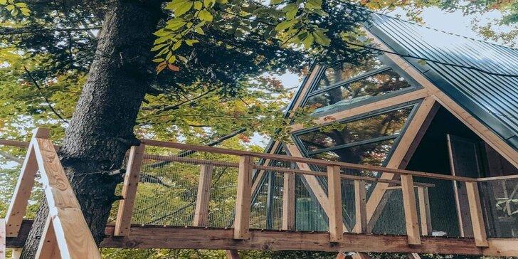 Pobyt pre 2 až 4 osoby v krásnom novom domčeku v korunách stromov v úžasnej prírode Martinských holí