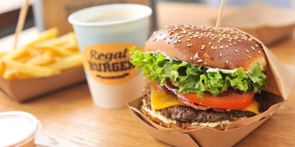 Legendárny Regal Burger s hranolčekmi+bezodný nápoj