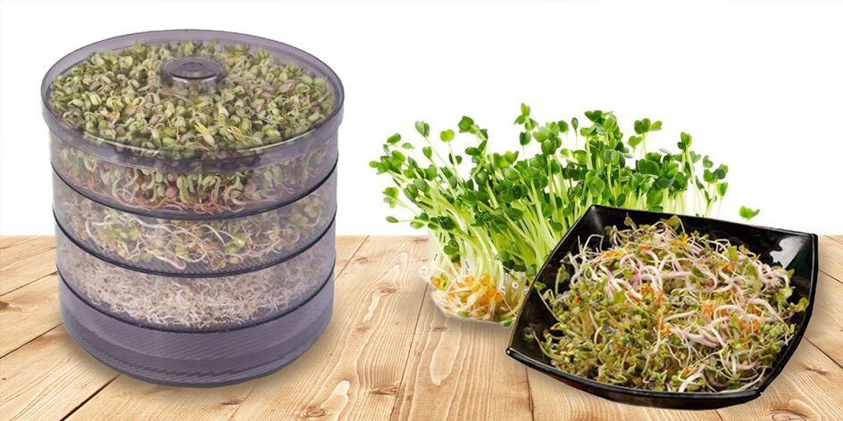 Trojposchodová biomiska na klíčenie a výber z 11 semienok
