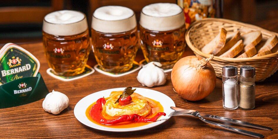 Pivo + nakladaný hermelín či utopenec
