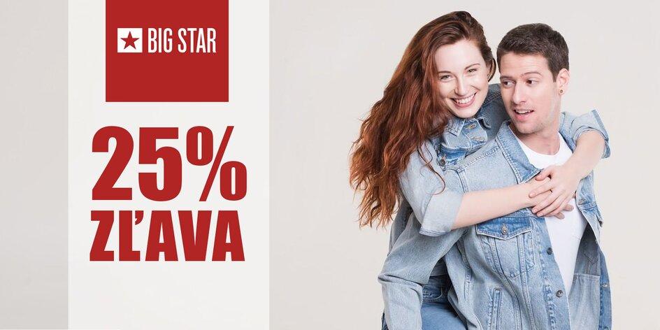Darujeme vám 25 % zľavu na nákup v kamenných predajniach značky BIG STAR!