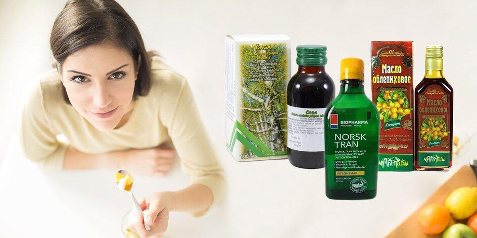 Doplnky stravy – mumio, čaga a rakytníkový či rybí olej