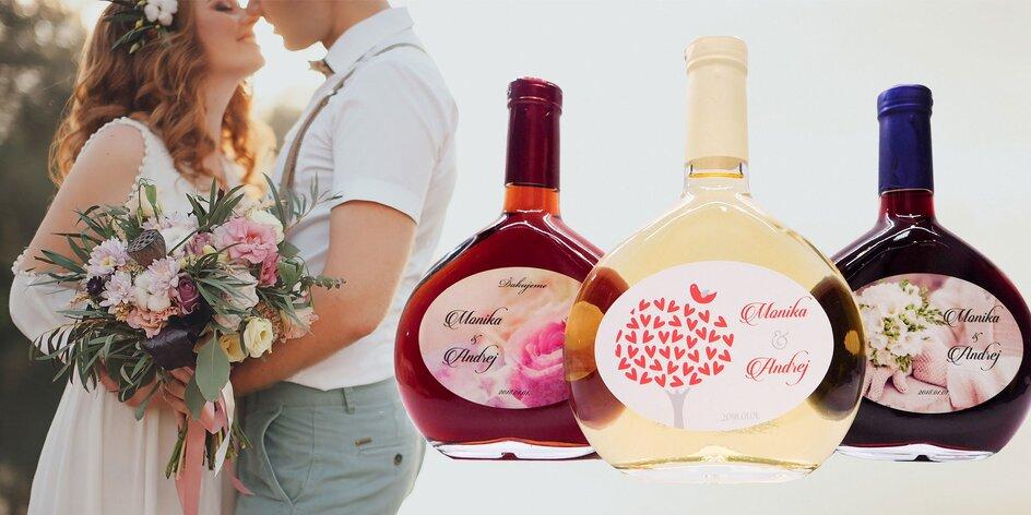 Výslužkové ovocné vína so svadobnou etiketou na mieru