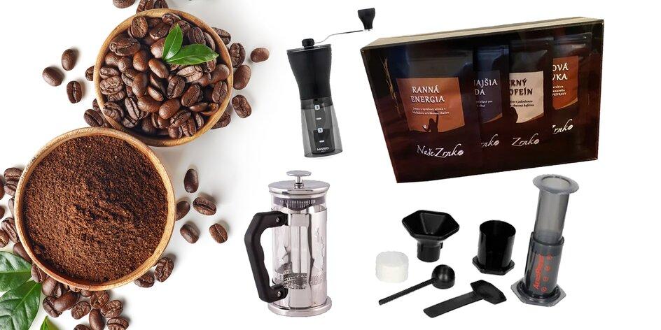 Balíčky kávy s mlynčekom, french pressom či aeropressom