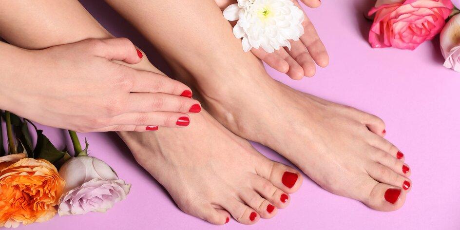 Pedikúra s masážou nôh alebo aj manikúrou a gél lakom