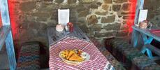 Vyprážaný syr s hranolčekmi a zeleninovou oblohou pre 1 osobu
