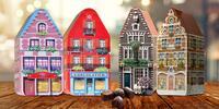 Dóza v tvare domčeka plná belgických praliniek