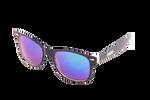 Čierno - biele okuliare Kašmir Wayfarer W27 - sklá modré zrkadlové