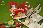 4-dielny SET: Drevené 3D vyfarbovacie puzzle (kytica kvetov + kohútik + veľryba s mláďatkom + koník)