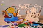 4-dielny SET: Drevené 3D vyfarbovacie puzzle (vláčik + loďka + parník + psík s mačičkou)